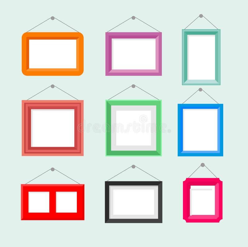 Sistema del ejemplo del vector del marco de la foto del vintage Colección de manuar de la pintura en fondo azul en historieta ilustración del vector
