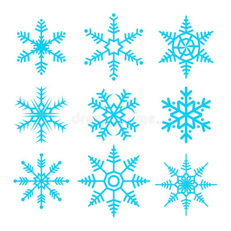 Sistema del ejemplo del vector del símbolo del vector de los copos de nieve stock de ilustración