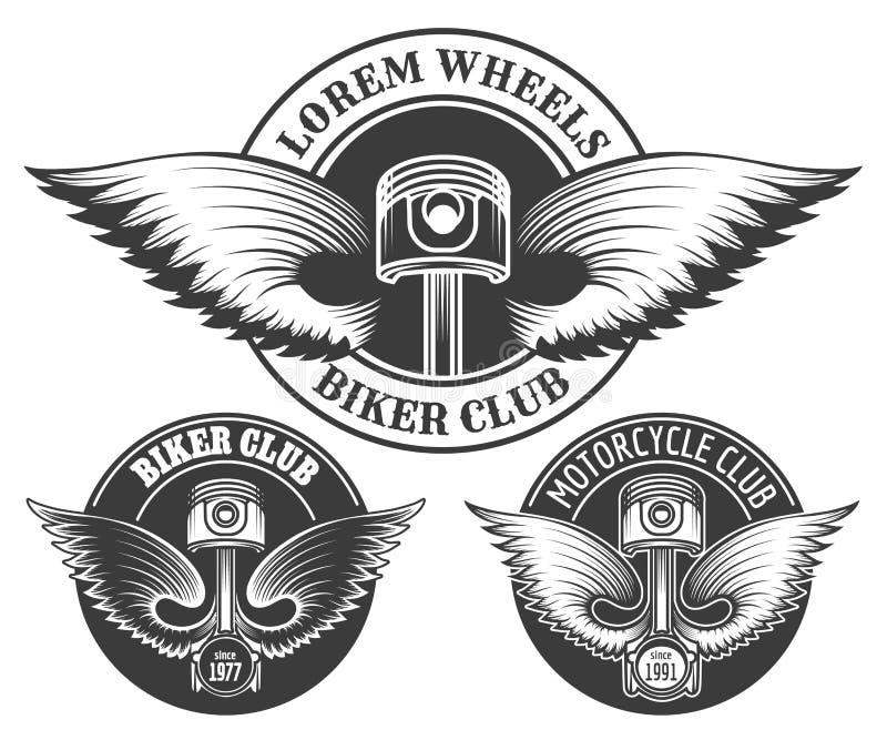 Sistema del emblema del club del motorista ilustración del vector