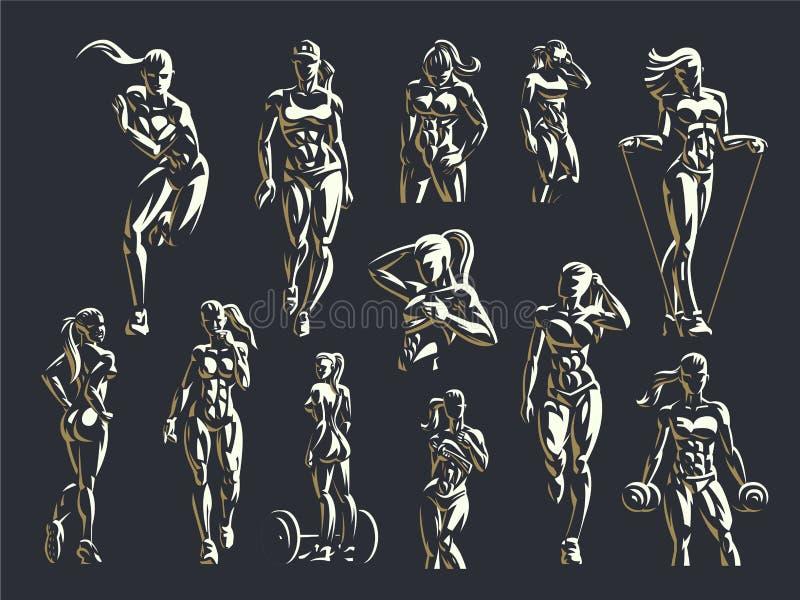 Sistema del emblema de la aptitud de la mujer stock de ilustración