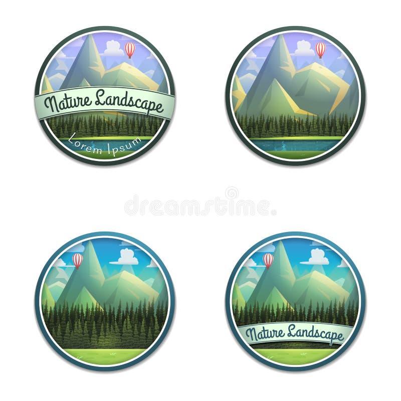 Sistema del emblema de la naturaleza del paisaje de la montaña con el río y el bosque conífero aislados en el fondo blanco libre illustration