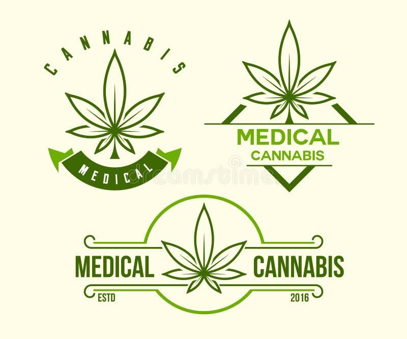 Sistema del emblema médico verde del cáñamo, logotipo Estilo clásico del vintage stock de ilustración