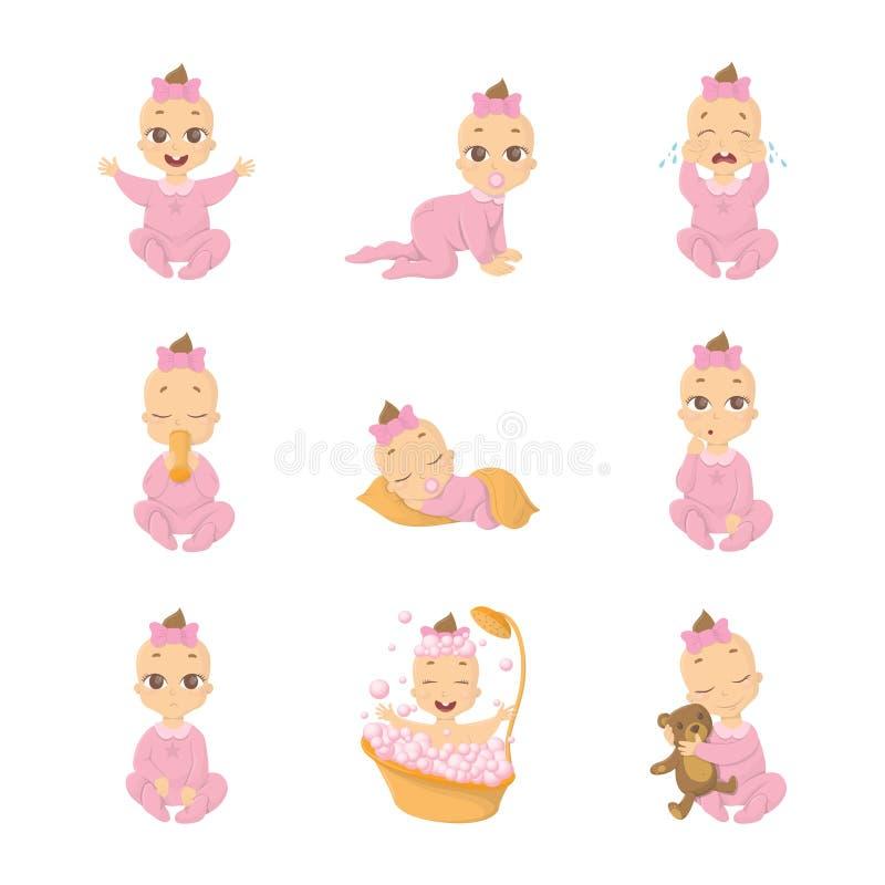 Sistema del emoji del bebé stock de ilustración