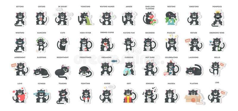 Sistema del emoji del gato ilustración del vector