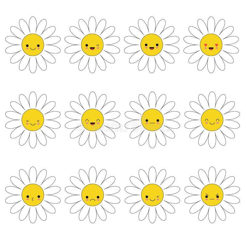 Sistema del emoji del icono de la manzanilla de la margarita blanca Personajes de dibujos animados divertidos del kawaii libre illustration