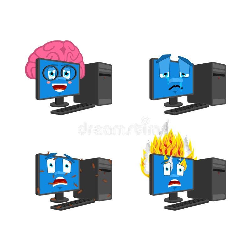 Sistema del emoji del ordenador PC elegante e infectada Fuego y griter?o colecci?n del inform?tico de situaciones ilustración del vector