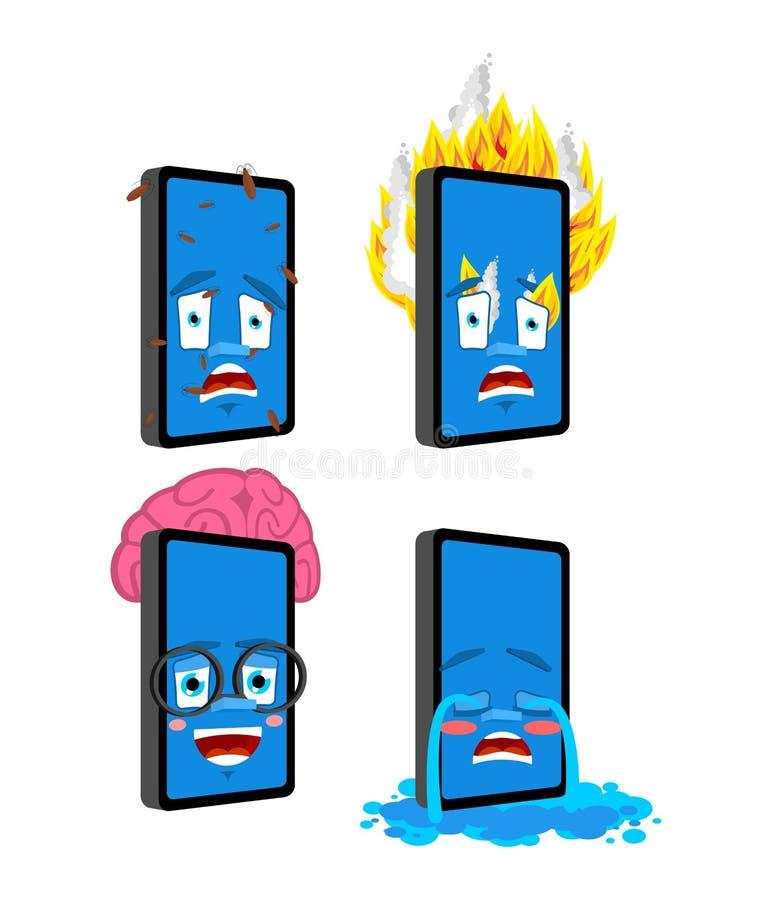 Sistema 3 del emoji del teléfono Smartphone elegante e infectado Fuego y griterío Colección del artilugio de situaciones ilustración del vector