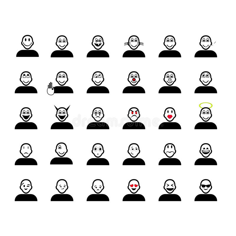 Sistema del emoticon de la historieta libre illustration