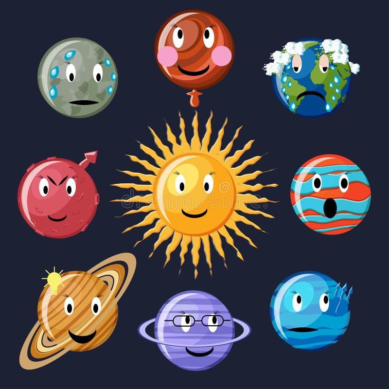 Sistema del emoticon de los planetas ilustración del vector