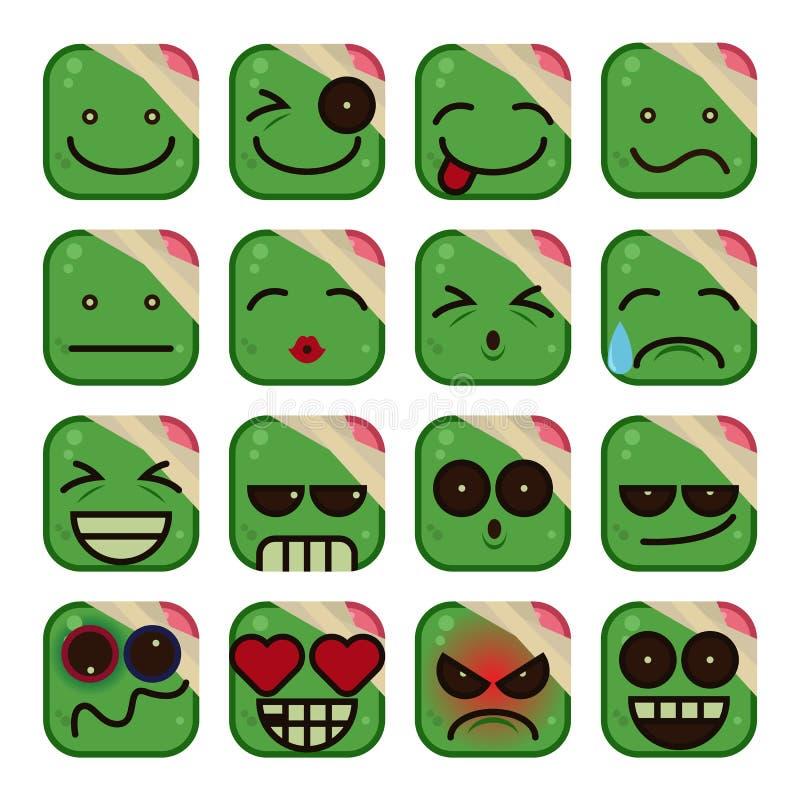 Sistema del Emoticon del zombi libre illustration