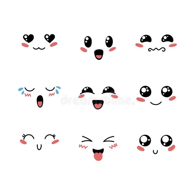 Sistema del emoticon precioso lindo del kawaii imagenes de archivo