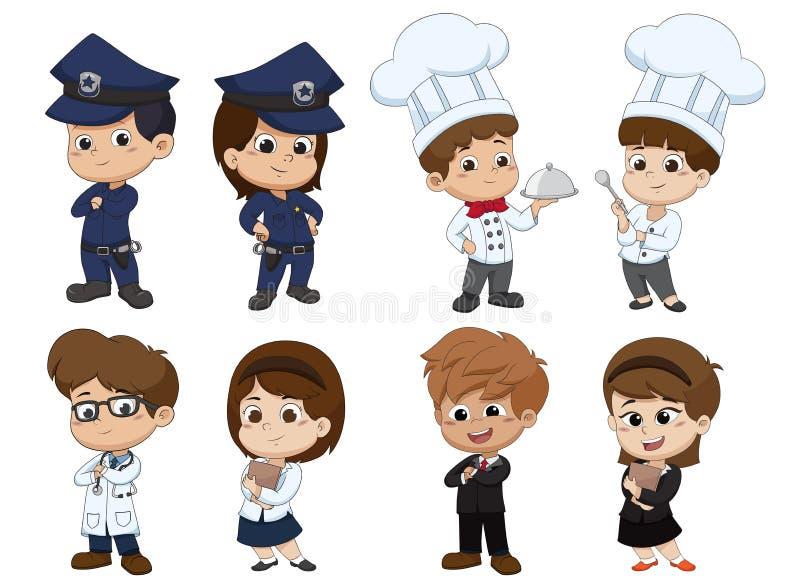 Sistema del empleo del niño stock de ilustración