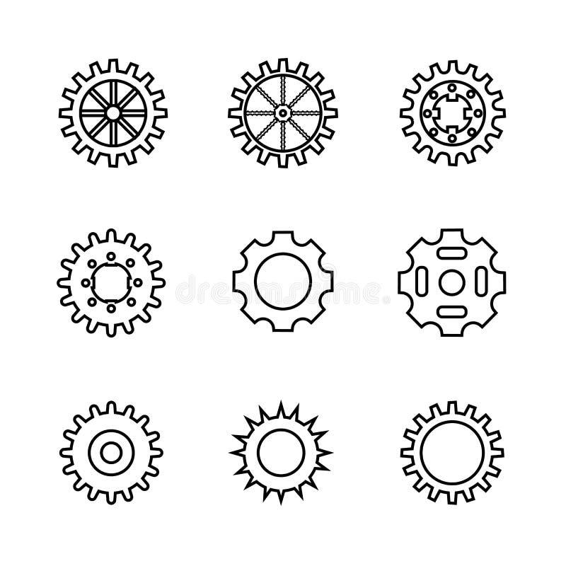 Sistema del engranaje, nueve ruedas dentadas stock de ilustración