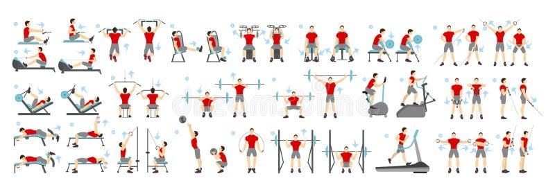 Sistema del entrenamiento de los hombres ilustración del vector