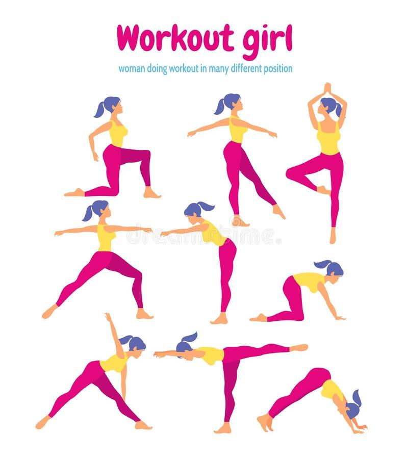 Sistema del entrenamiento del cuerpo Mujer que hace ejercicios de la aptitud y de la yoga Paquete o ilustración del vector