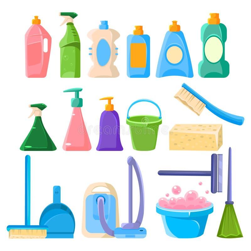 Sistema del equipo de la limpieza del hogar ilustración del vector