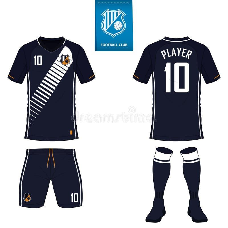 Sistema del equipo del fútbol o de la plantilla del jersey del fútbol Logotipo plano del fútbol Uniforme delantero y trasero del  ilustración del vector