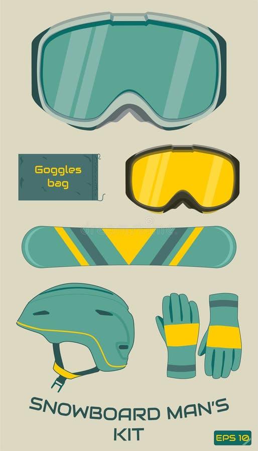 Sistema del equipo del hombre de la snowboard Vector imagen de archivo