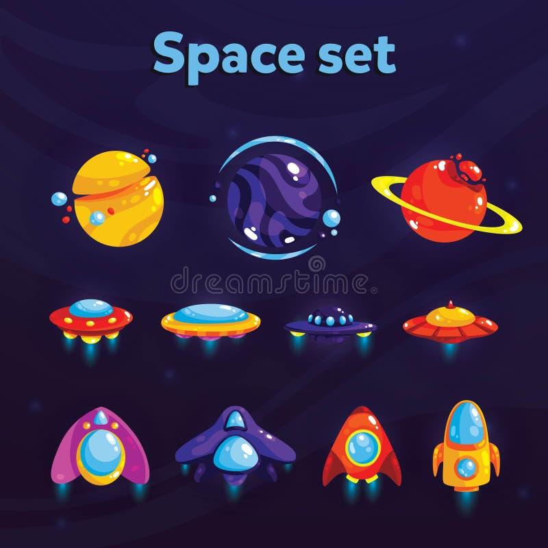Sistema del espacio Artículos cósmicos de la fantasía para el juego o el diseño web móvil Elementos del GUI del vector para el di stock de ilustración