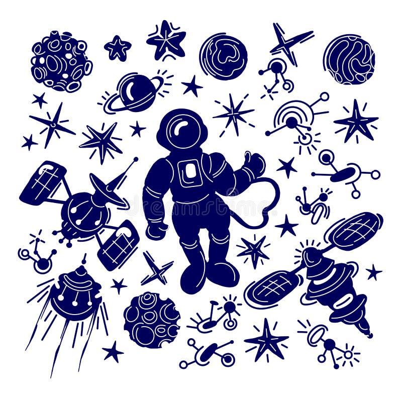 Sistema del espacio de vector Bosquejo gr?fico Galaxia del cosmo de la fantasía stock de ilustración