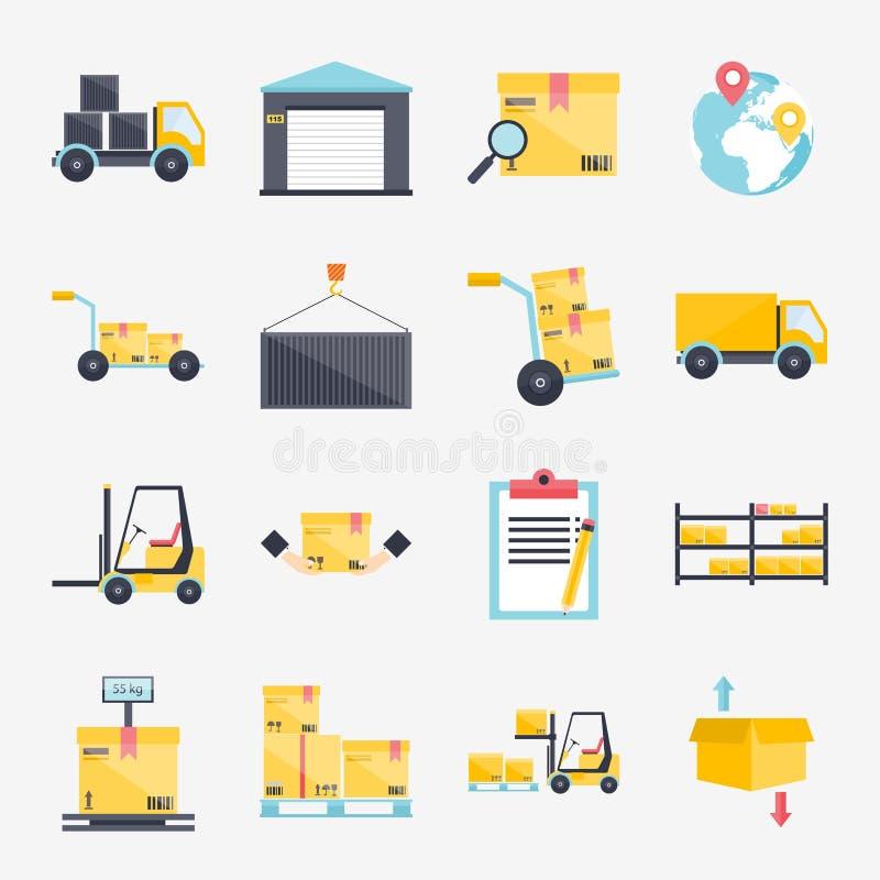 Sistema del espacio en blanco y del transporte logísticos, s de los iconos planos del almacén ilustración del vector