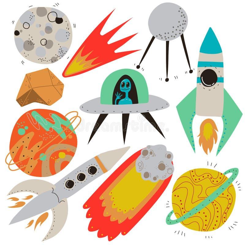 Sistema del espacio, Luna Llena, meteorito el flamear, sat?lite de tierra artificial, nave espacial del UFO, Rocket, Saturn, plan ilustración del vector