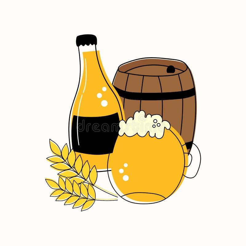 Sistema del esquema de la taza y de la botella de cerveza, barril y trigo aislados en el fondo blanco stock de ilustración