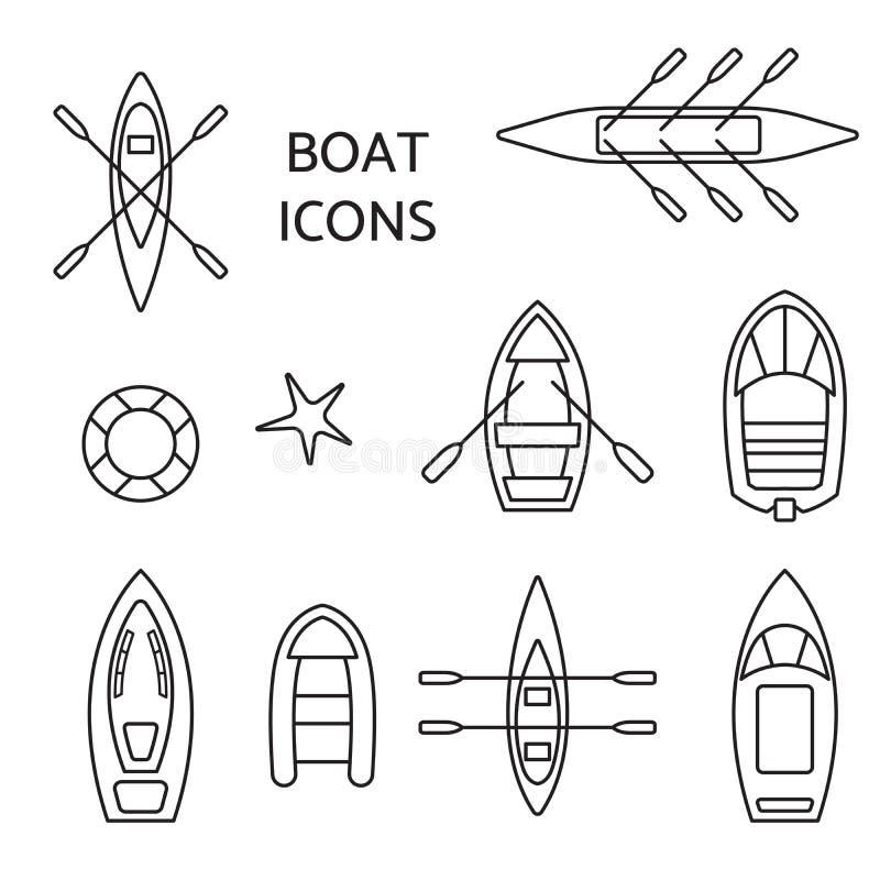 Sistema del esquema de los iconos del barco libre illustration