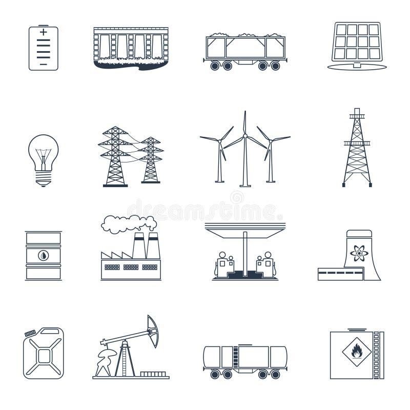 Sistema del esquema de los iconos de la energía stock de ilustración