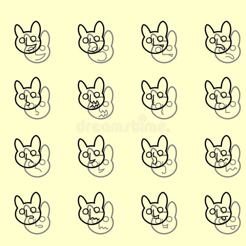 Sistema del esquema del vector de los iconos de los Emoticons Caras banny divertidas ilustración del vector