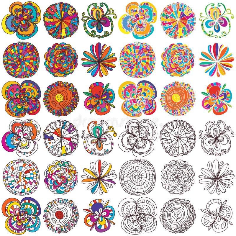Sistema del estilo de los colores de las flores ilustración del vector