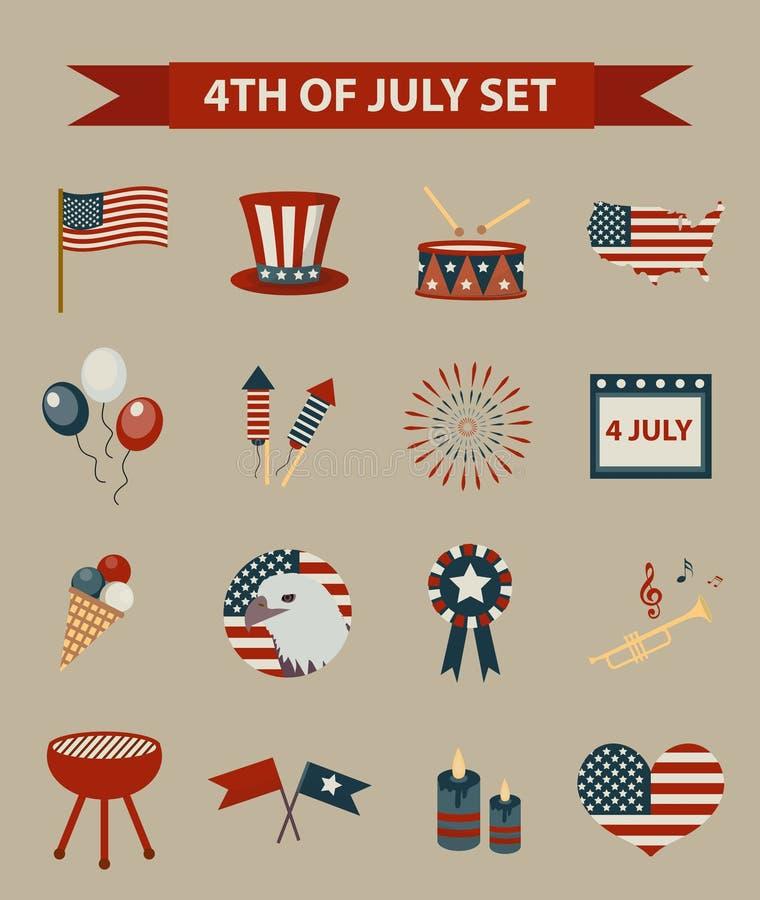 Sistema del estilo del vintage del Día de la Independencia patriótico de los iconos de América 4 de julio colección de elementos  stock de ilustración