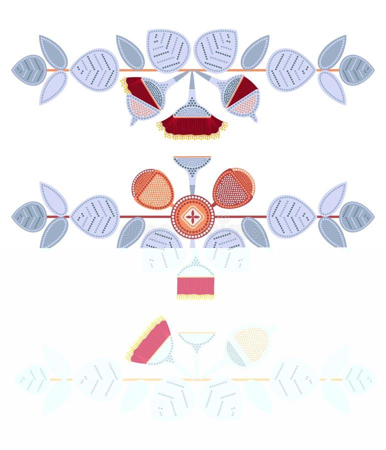 Sistema del eucalipto de ramas decorativas Arte del punto Arte aborigen australiano Paleta de colores limitada ilustración del vector