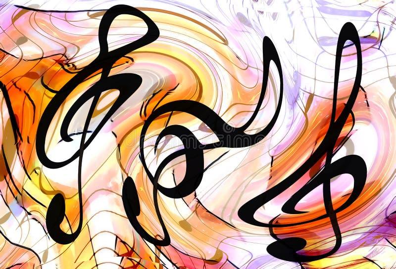 Sistema del extracto de claves y de líneas de la música con las notas, collage del gráfico del tema de la música libre illustration