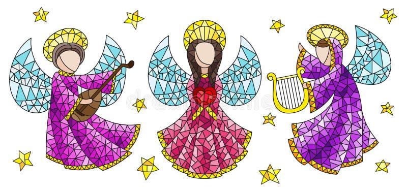 Sistema del extracto de los ángeles y de las estrellas, figuras coloreadas del vitral en un fondo blanco libre illustration