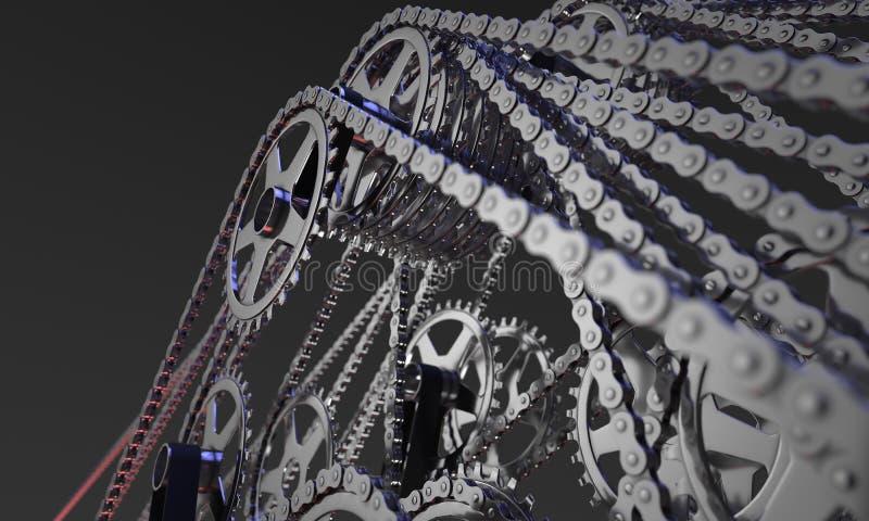 Sistema del extracto de ruedas dentadas y de cadenas de la bicicleta foto de archivo libre de regalías