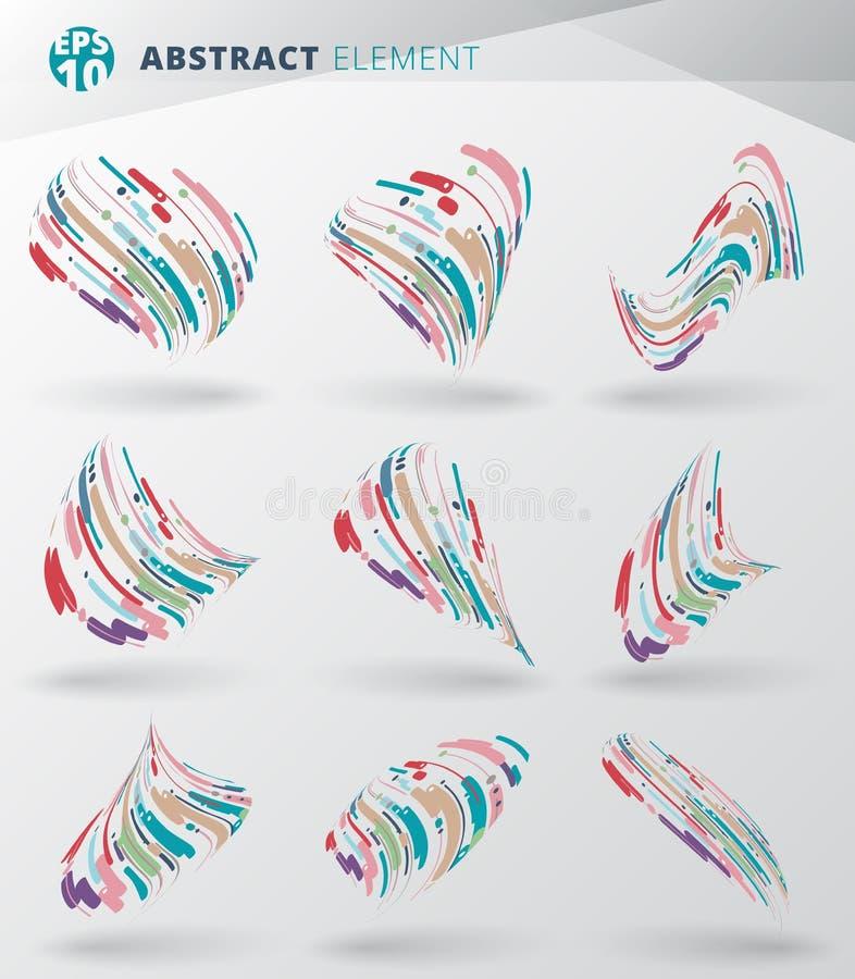 Sistema del extracto moderno del estilo con la composición hecha del diverso li libre illustration