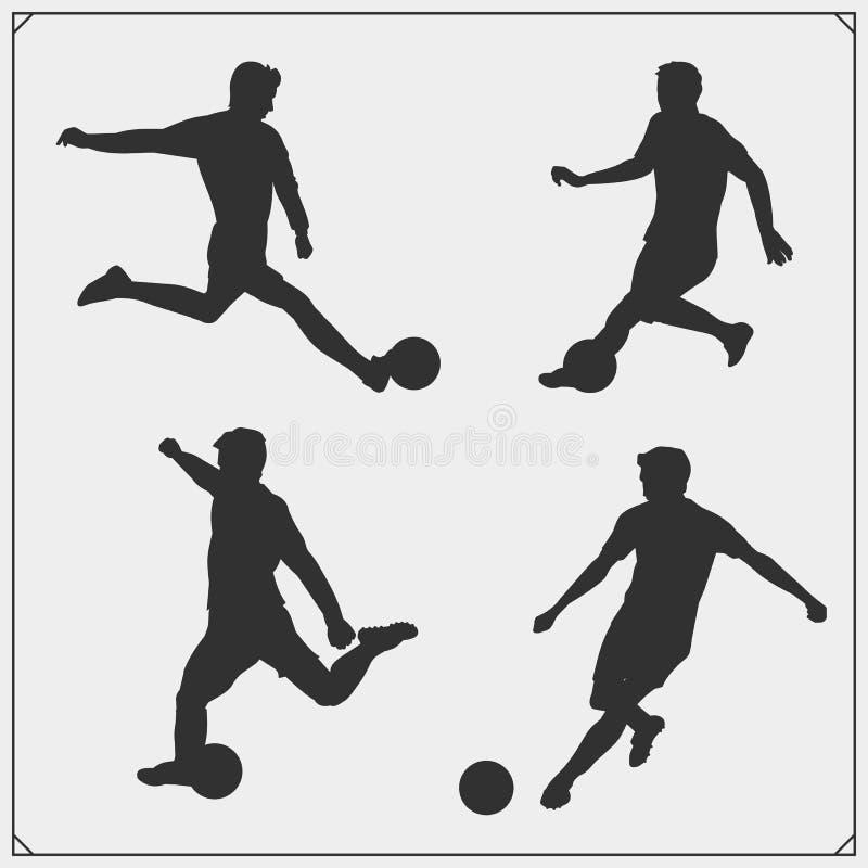 Sistema del fútbol y de la silueta del jugador de fútbol ilustración del vector