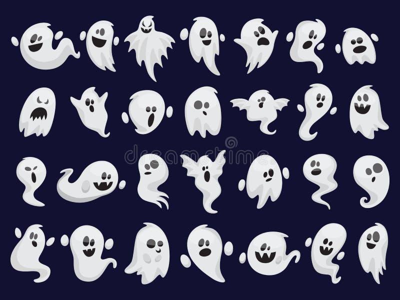 Sistema del fantasma Silueta fantasmagórica de Halloween Traje del horror stock de ilustración