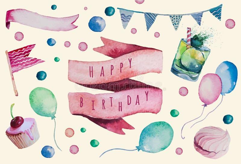 Sistema del feliz cumpleaños de la acuarela Vintage dibujado mano libre illustration