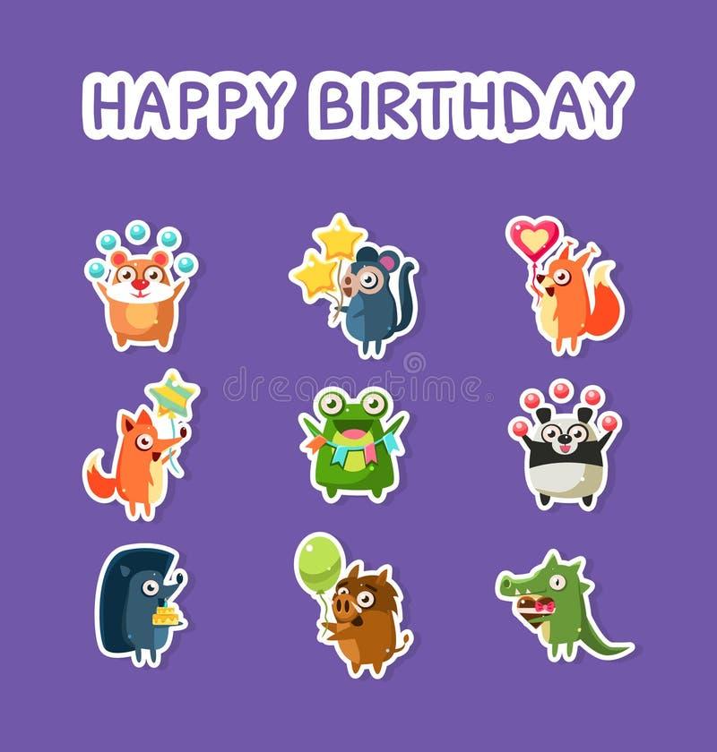 Sistema del feliz cumpleaños, etiquetas engomadas divertidas lindas de los animales con los globos, hámster, mono, Fox, ardilla,  ilustración del vector
