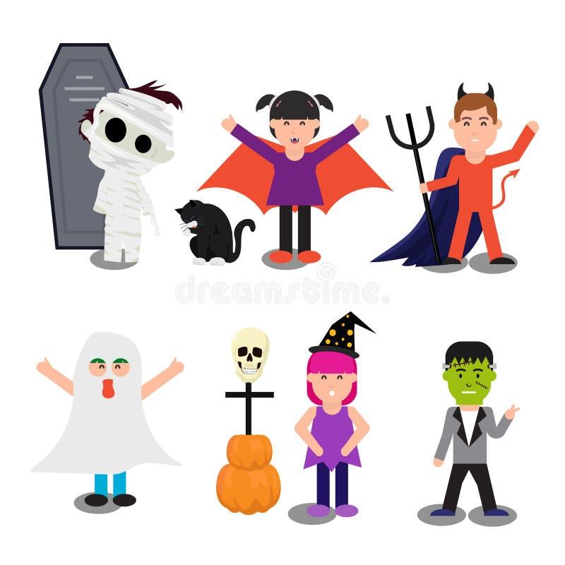 Sistema del feliz Halloween de niños lindos stock de ilustración