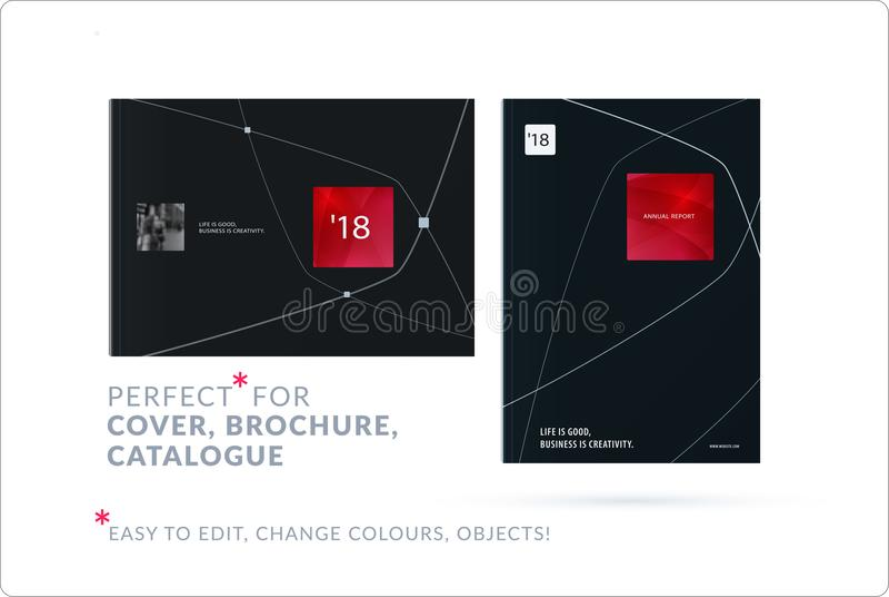 Sistema del folleto del diseño, informe anual abstracto, aviador horizontal del negocio de la cubierta en A4 ilustración del vector