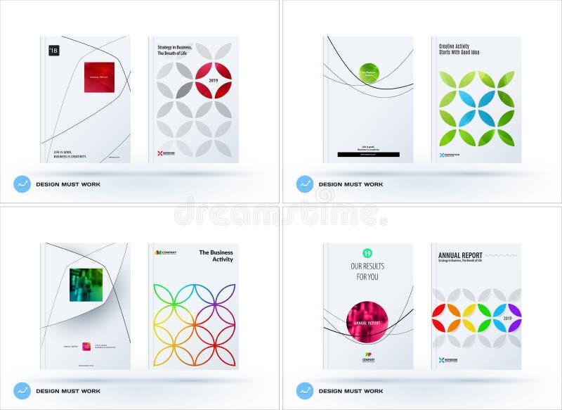 Sistema del folleto del diseño, informe anual abstracto, aviador horizontal del negocio de la cubierta en A4 stock de ilustración