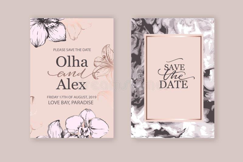 Sistema del folleto elegante elegante, cubiertas, tarjetas con textura rosada de los lirios, blanca y color de rosa del oro del m libre illustration