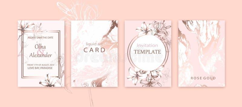 Sistema del folleto elegante elegante, cubiertas, tarjetas con textura rosada de los lirios, blanca y color de rosa del oro del m stock de ilustración