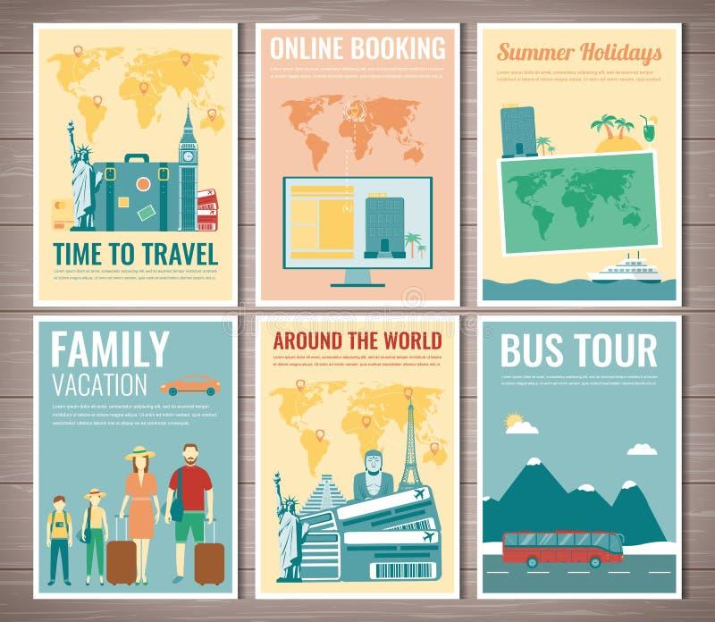 Sistema del folleto del viaje y del turismo Plantilla de la revista, cartel, cubierta de libro, bandera, aviador Vector stock de ilustración