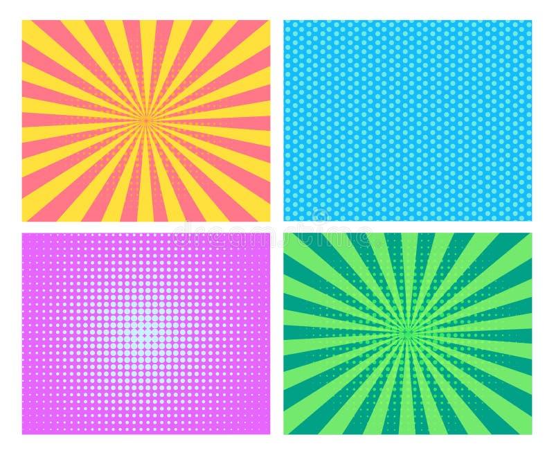 Sistema del fondo del arte pop stock de ilustración