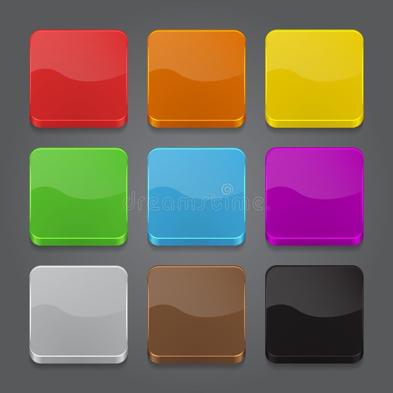 Sistema del fondo de los iconos del App. Iconos brillantes del botón de la tela. stock de ilustración