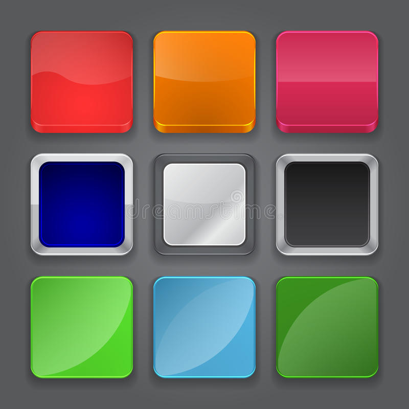 Sistema del fondo de los iconos del App. Iconos brillantes del botón del Web. stock de ilustración